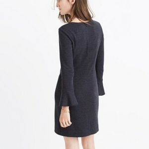 MADEWELL Knit Bell Sleeve Dress Charcoal Grey